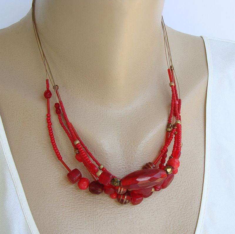 Chico's 5 strand Red Glass Bead Necklace