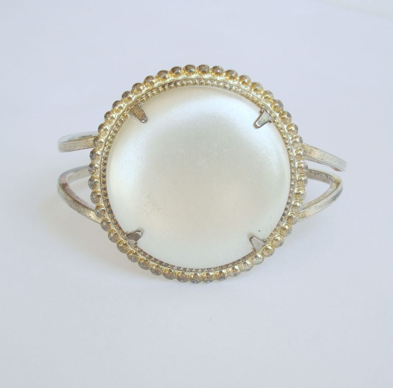 Hinged Cuff Bracelet Large faux MOP Face Vintage Jewelry
