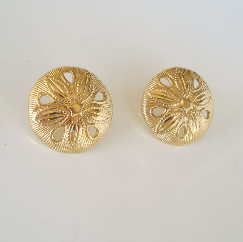 Avon Sand Dollar Earrings Post Style Figural Sea Life Jewelry