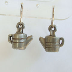 Pewter Teapot Pierced Earrings Cute Figural Jewelry