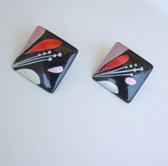 Abstract Handpainted Black Floral Post Style Earrings Vintage Jewelry