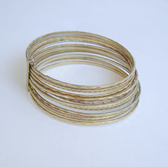 10 Connected Geometric Bangle Bracelets Textured Goldtone Vintage Jewelry