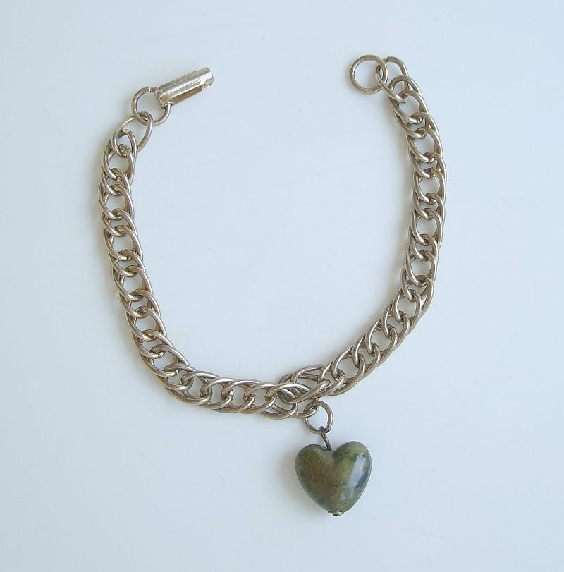 Double Chain Link Bracelet Brown Marbled Puffed Heart Charm Vintage Jewelry