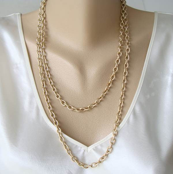 Lightweight Eloxal Aluminum Textured Chain Necklace 48 in Vintage Jewelry