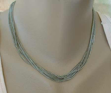 6-strand Small Link Chain Necklace Vintage Jewelry