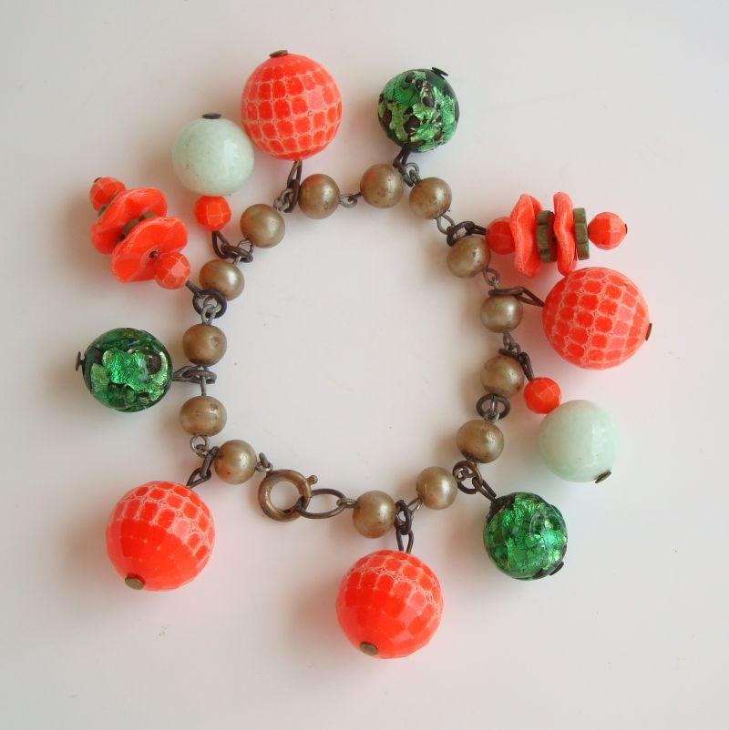 Charm Bracelet Orange Green Foil Lucite Beads Vintage Jewelry