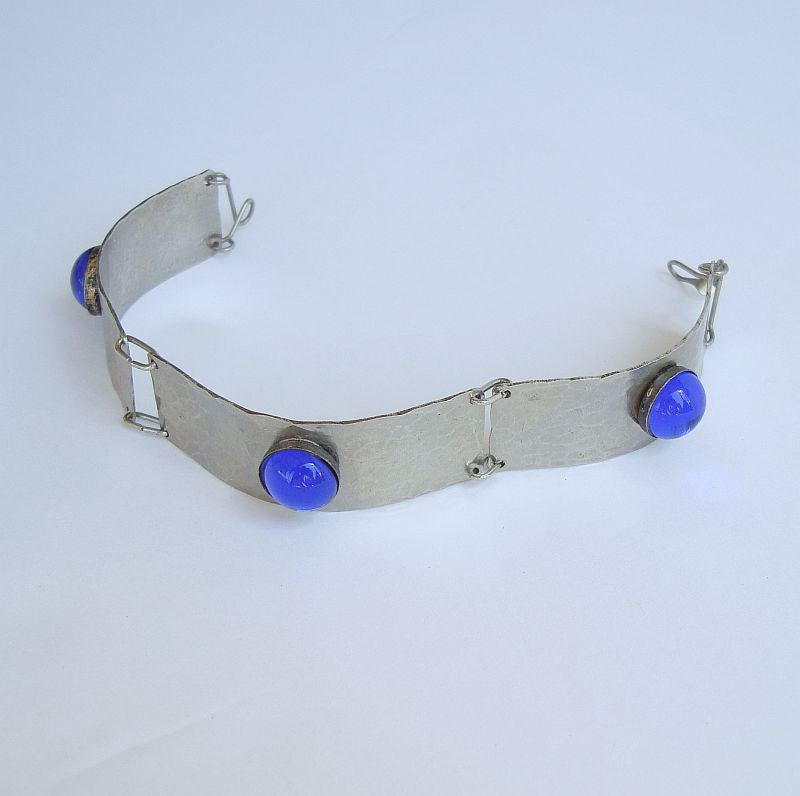 Hammered Aluminum Bracelet Cobalt Blue Cabs Man or Women Jewelry