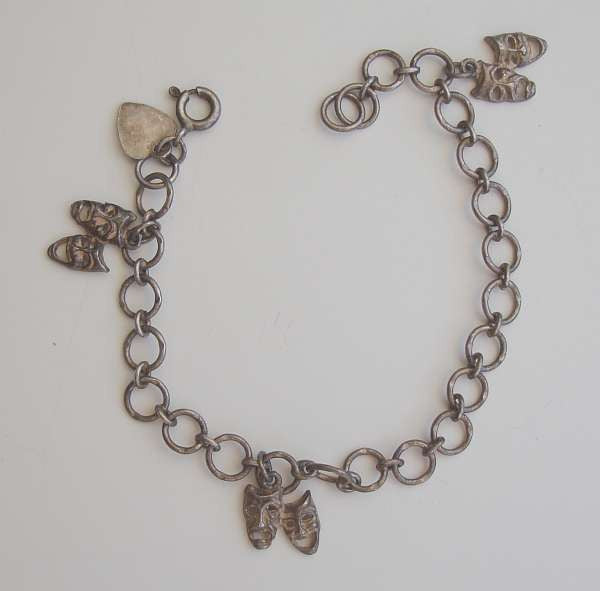 Child or Small Sterling Silver Comedy Tragedy Charm Bracelet Vintage