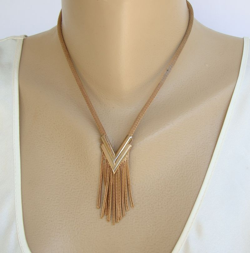 Retro Art Deco-Style Mesh Chain Necklace As Is Vintage Jewelry