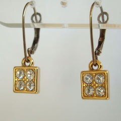 MONET Leverback Square Geometric Rhinestone Drop Earrings Signed Jewelry