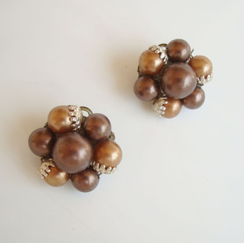JAPAN Brown Cluster Clip On Earrings Vintage Jewelry
