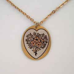 Reed Barton Damascene Mixed Metal Pendant Necklace Floral Vintage Jewelry
