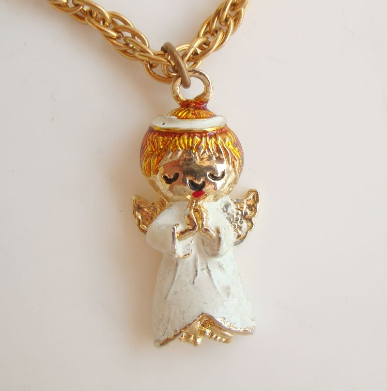 Praying Angel Pendant Necklace White Red Enamel Vintage Holiday Jewelry