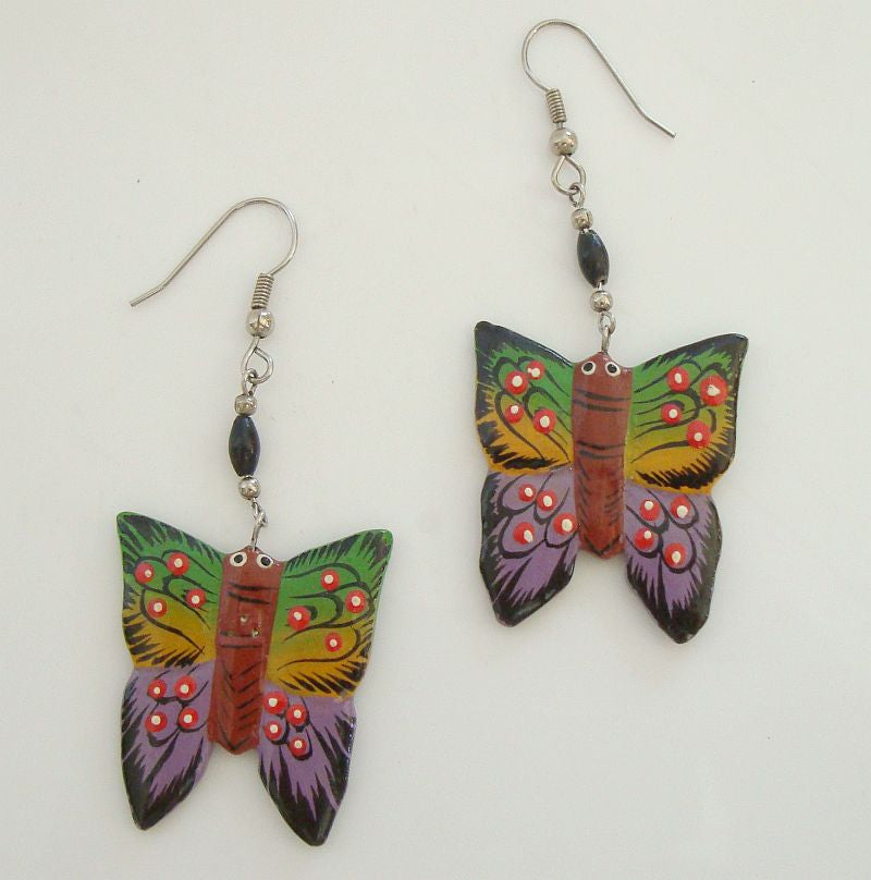 Colorful Wood Butterfly Dangle Earrings Figural Jewelry