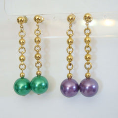 Two Pair Metal Dangle Earrings Green Purple Post Style Colorful Jewelry