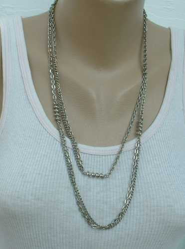 Ultra Long 50 Inch Cable Chain Necklace with Spiral Accents Double Stranded Vintage Jewelry