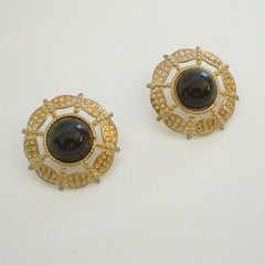 Openwork Black Cabochon Post Earrings  Stamped Metal Vintage Jewelry