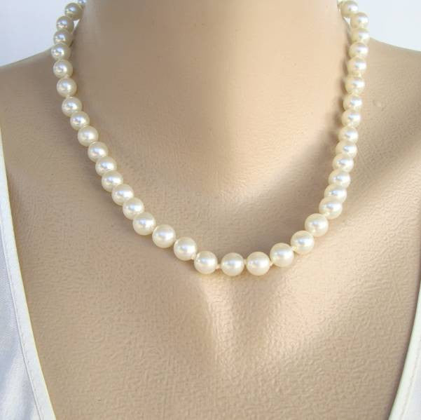 Glass Pearl Necklace Double Knooted Vintage Wedding Jewelry
