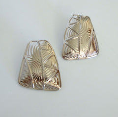 Berébi Geometric Post Earrings Silvertone Art Deco Style Jewelry