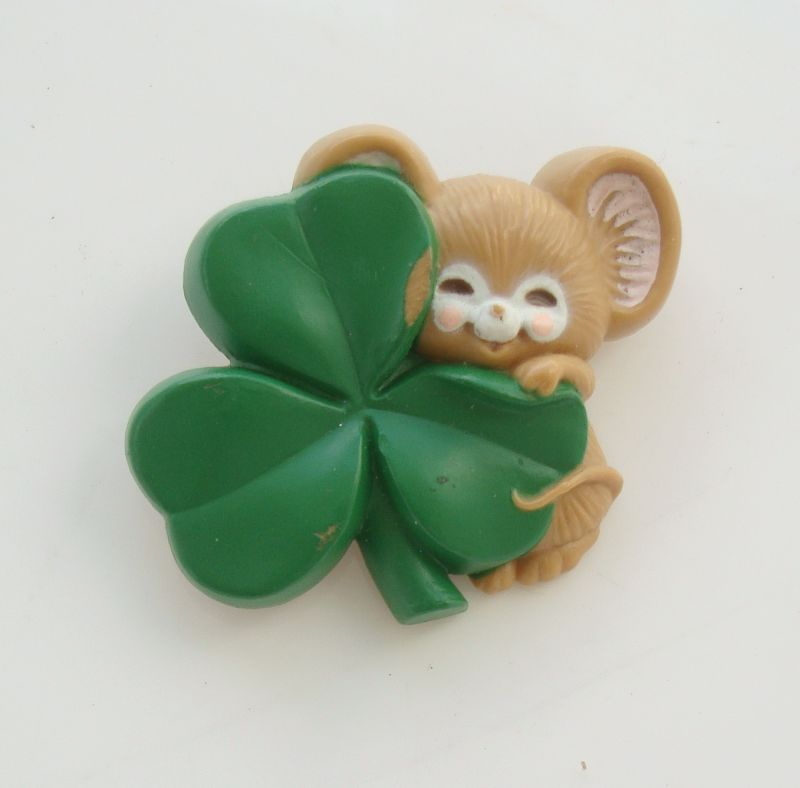 Hallmark Mouse Shamrock St Pats Pin 1983 Vintage Figural Holiday Jewelry