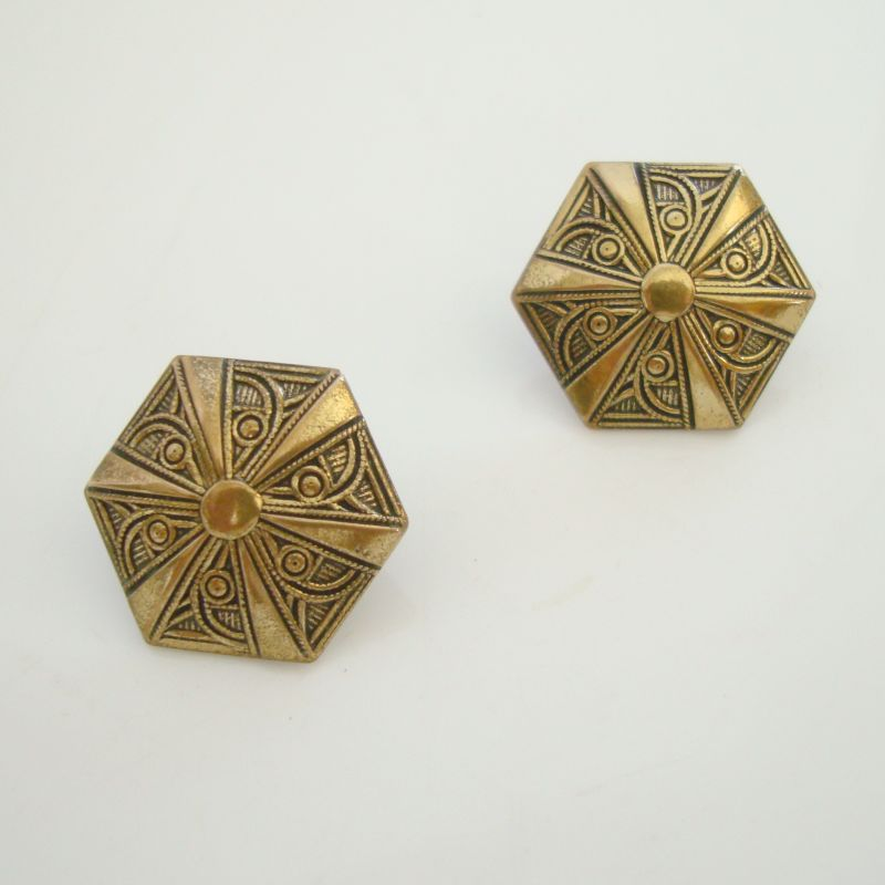 Brass Hexagon Post Earrings Taille d'e'pargne Geometric Vintage Jewelry