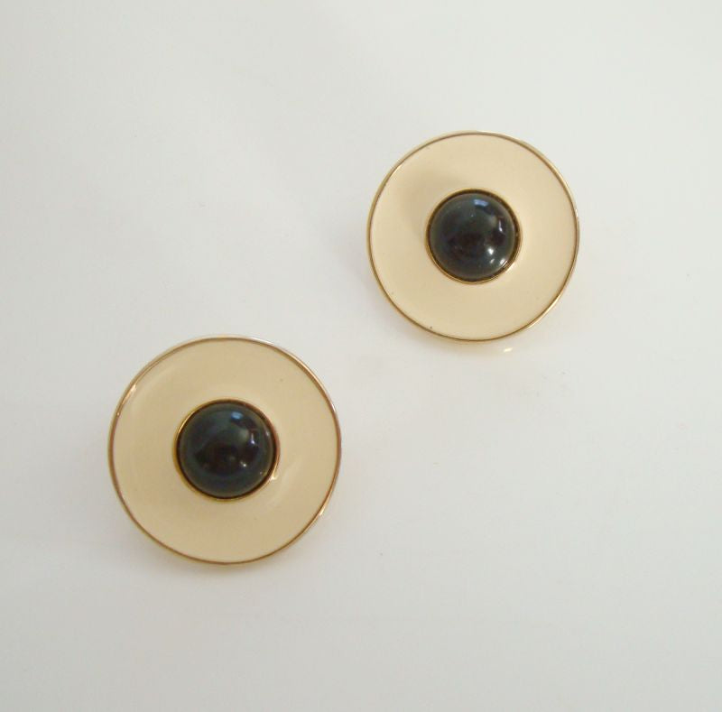 MONET White Enamel Black Cabochon Post Style Earrings
