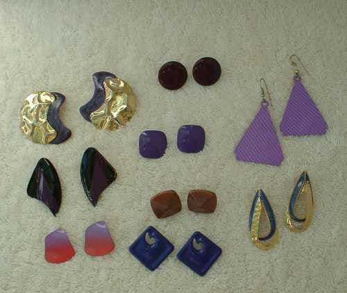 Lot of 9 Purple Lavender Post Style Earrings Enamel Stamped Metal Jewelry