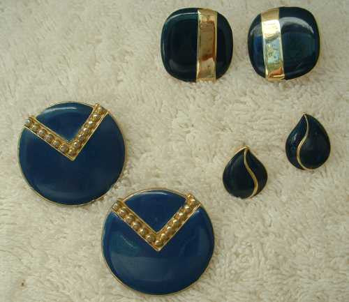 Lot of 5 Pairs Blue Enamel Earrings Post Style Goldtone Jewelry