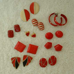 Lot of 10 Red Post Style Earrings Enamel Hoops Ceramic Jewelry