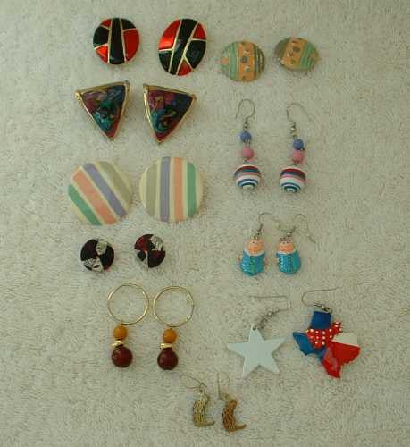 Lot of 11 Multi-Colored Earrings Pierced Enamel Cloth Damascene TX Jewelry