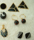 Lot of 9 Pairs Black Post Style Earrings Enamel Triangles Stripes