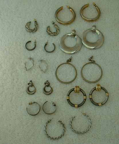 Lot of 10 Silvertone and Goldtone Hoop Earrings Post Style Some Vintage Jewelry