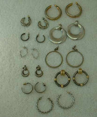 Lot of 10 Silvertone and Goldtone Hoop Earrings Post Style Some Vintage
