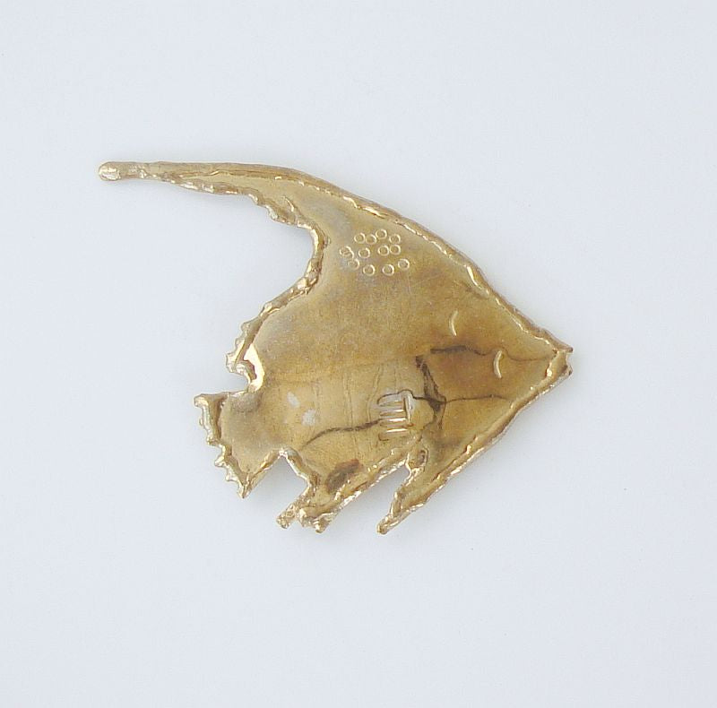 Hand-Formed Brass Fish Brooch Sealife Vintage Figural Jewelry