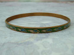 Cloisonne Enamel Copper Bangle Bracelet Vintage Jewelry