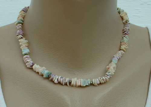 Multicolor Shell Necklace Blue Purple White Jewelry