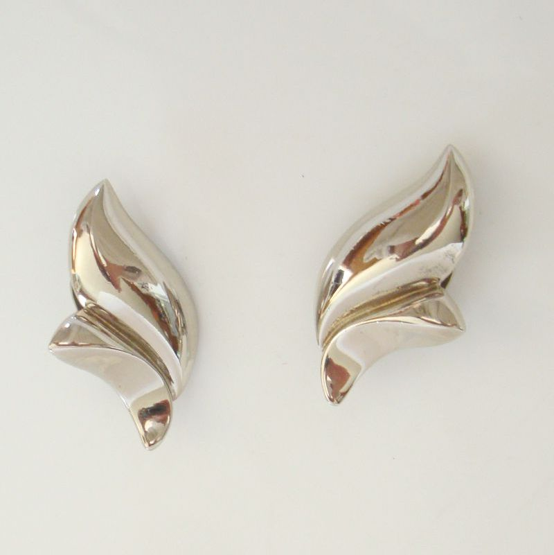 Givenchy Abstract Tulip Silvertone Clip On Earrings Vintage Designer Jewelry