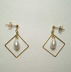 Delicate Pearl Drop Earrings Goldtone Diamond Frame Post Style Vintage Jewelry