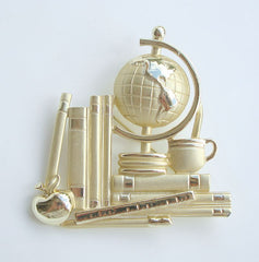 AJC Large Student Teacher Brooch Globe Books Apple Figural Jewelry