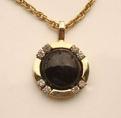 Black Obsidian Cabochon Rhinestone Pendant Necklace Vintage Jewelry