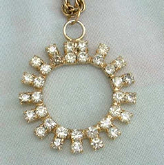 Vintage Circle Rhinestone Pendant Chain Necklace Two Rows Sparkling Rhinestones