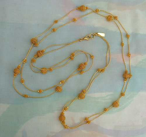 TALBOTS Atomic Filigree Wire Bead 2 Strand Necklace Jewelry