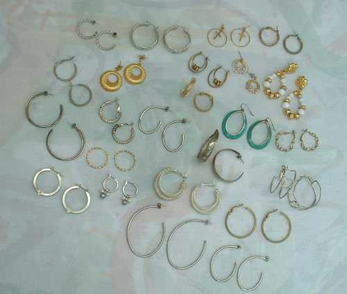 Lot of 24 Pairs of Hoop Earrings Enamel Beads Lever Backs Stud Shrimp Wires Jewelry