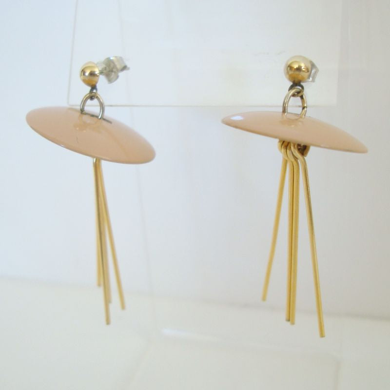 Flat Hat Shaped Dangle Earrings Tan Enamel Post Style Vintage Jewelry