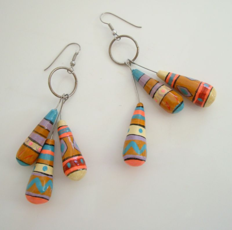 Multi-Colored Hand Painted Dangle Earrings Mexican-Pinata Style Vintage Jewelry
