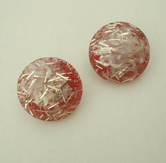 Red Confetti Lucite Earrings Clip On Festive Vintage Jewelry