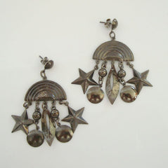 Japanned Black Dangle Earrings Sun Star Moon Vintage Figural Jewelry