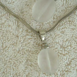 Frosted Glass Pendant Necklace Pierced Earrings Set Snake Chain Vintage Jewelry