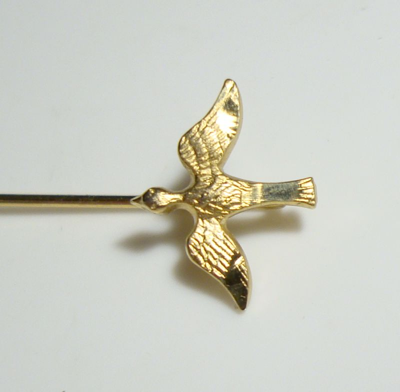 Chape Gold Filled Bird Stick Pin Hat Pin Vintage Figural Jewelry
