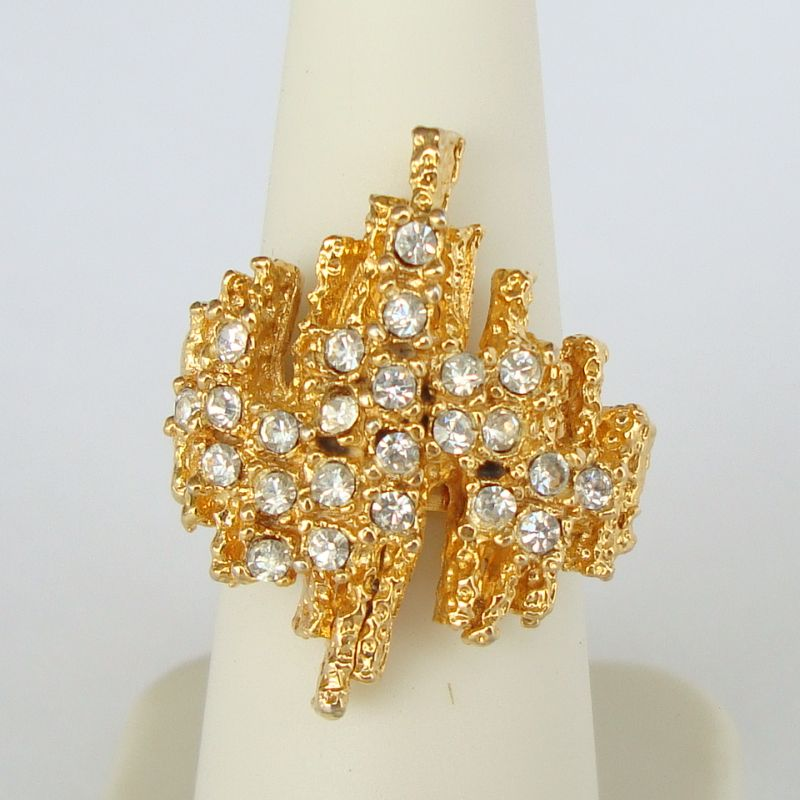 Wall of Rhinestones Cocktail Ring Adjustable Size Vintage Jewelry
